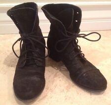 "SIGERSON MORRISON ""BELLE"" Combat Boots Lace Up Booties Black Suede Leather 8 B"