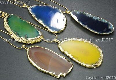 Natural Druzy Quartz Agate Gemstone Sliced Necklace Healing Pendan Beads Gold