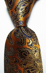 New-Classic-Paisley-Gold-Dark-Blue-JACQUARD-WOVEN-100-Silk-Men-039-s-Tie-Necktie
