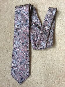 Vintage-Marks-and-Spencer-Blue-and-Pink-Paisley-100-Silk-Tie-Immaculate