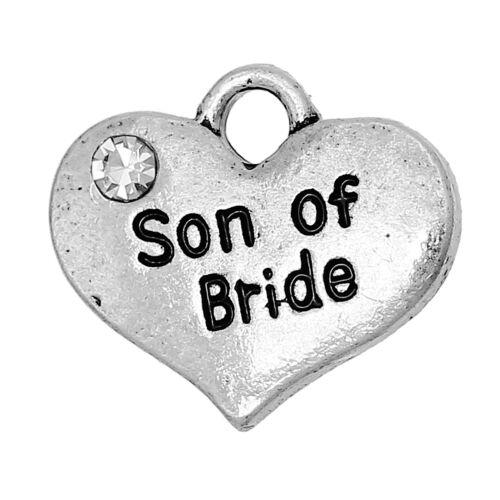 122 5 ANTIQUE SILVER RHINESTONE SON OF BRIDE HEART CHARMS PENDANTS~Weddings UK