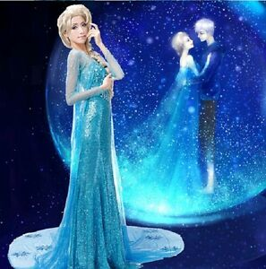 Reine-Des-Neiges-Elsa-Costume-Deguisement-Robe-Adulte-Bleu-add-perruque
