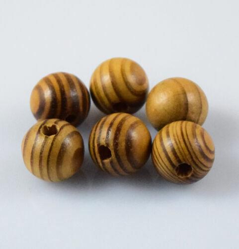6,10,12,16,18mm Natürliche Holz Runde Lose Spacer Perlen Schmuck DIY Armband Yd
