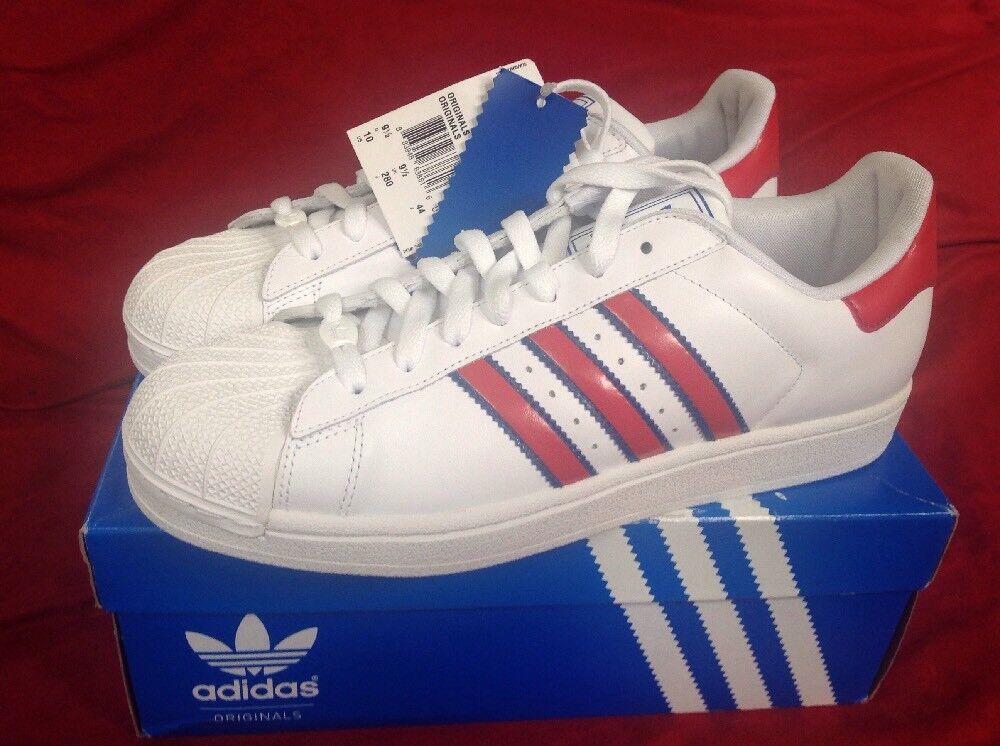 Adidas ORIGINALS SUPERSTAR II Red White bluee 379317 shoes Size 9.5 NIB