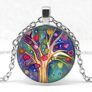collier pendentif arbre de vie coeur + sa chaine