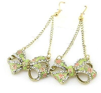 E522 BETSEY JOHNSON Dangling Crystal Gem Lucky Bow Ribbon Earrings US