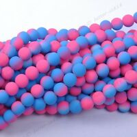 Mixed Matte Neon Frosted Glass Round Spacer BEADS 6MM,8MM
