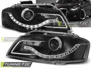 Audi A3 8P LED Tagfahrlicht Optik Scheinwerfer Schwarz / Black Europaw. Zugelas