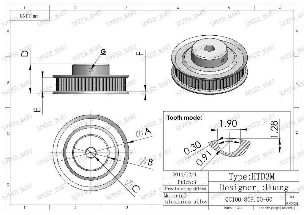 htd 3m aluminum timing belt pulley 120 teeth 8mm bore 11mm
