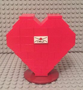 Valentines Mother Day Gift Lego Prebuilt MOC Red Heart Mini Display W// Stand
