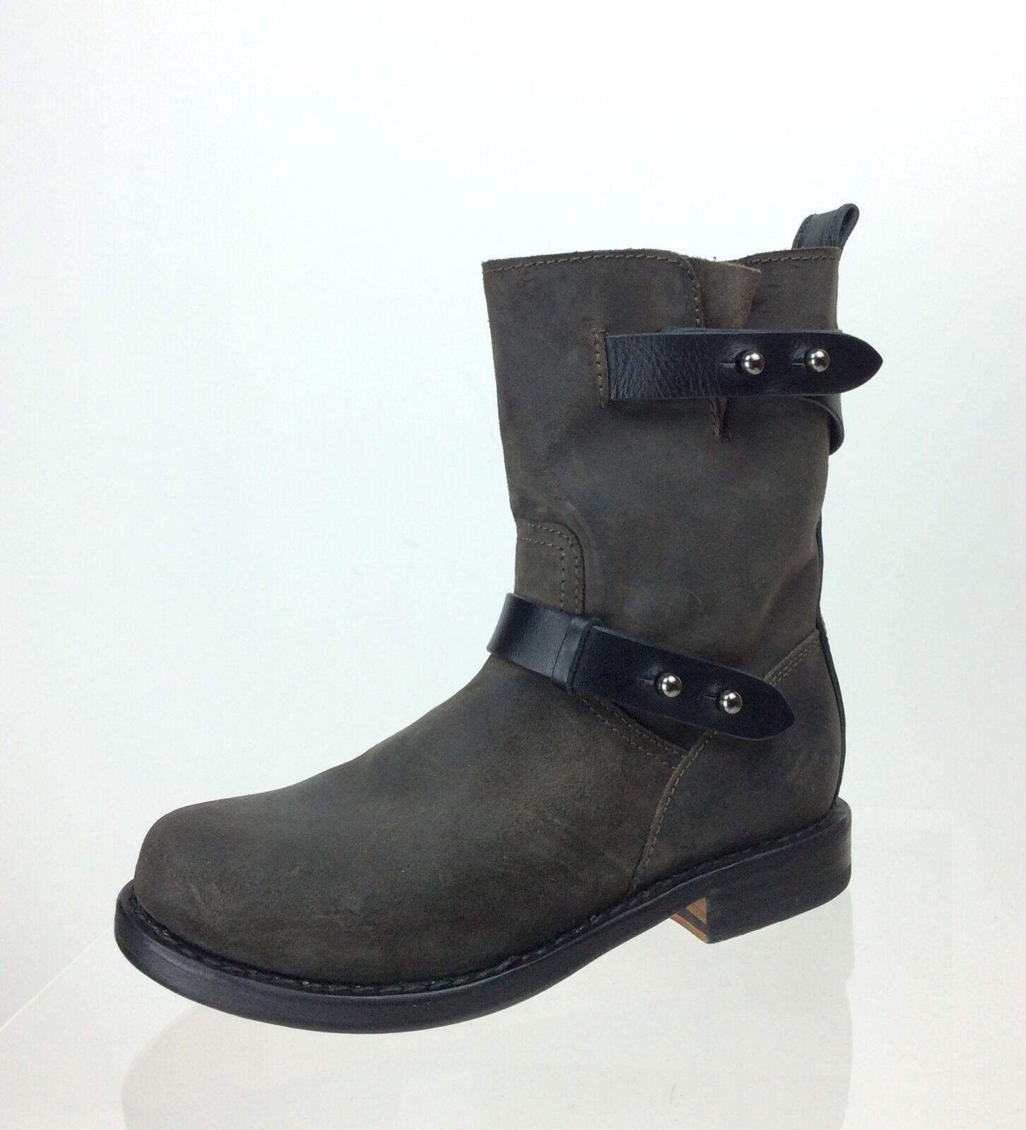 Womens Handmade Rag & Bone Calfskin New York Mid Calf Brown Boots EU Sz 35 M NEW