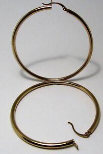 100%  Genuine Vintage 9k Yellow Gold Hollow Large Hoop Earrings