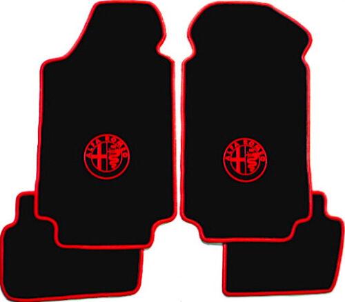 Fußmatten für Alfa Romeo Giulietta ab 2010 VELOUR! Rand und Logo Rot