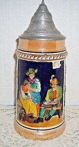 Vintage-German-Stein-Pewter-Lid-Handpainted-Relief-Musician-2-Ladies-amp-Dog-9-034