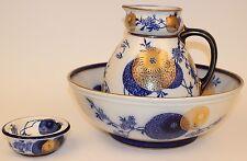 RARE LARGE ROYAL DOULTON FLOW BLUE PERSIAN SPRAY WASH BASIN & PITCHER