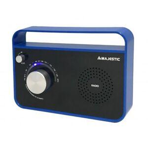New-Majestic-Radio-Portatile-Radiolina-FM-Analogico-Aux-IN-Blu-RT-191AX-CBBK