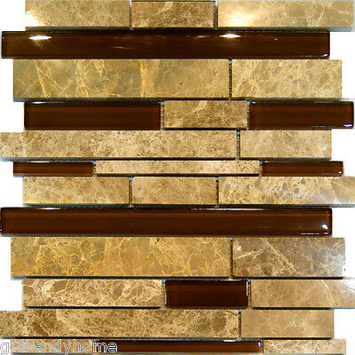 Sample-Brown Beige Marble Stone & Glass Random Linear Mosaic Tile Kitchen Wall
