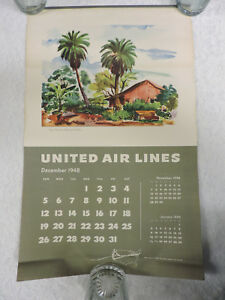 Vintage-1949-United-Air-Lines-Wall-Calendar-Litho-Art-by-Joe-Feher