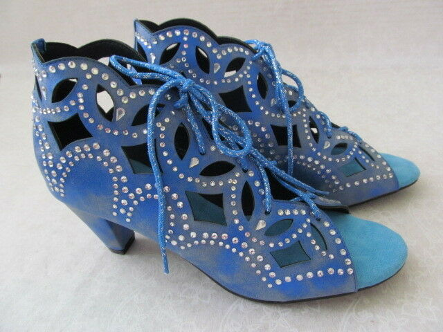89 JOAN BOYCE Blau CUT OUT DENIM RHINESTONE OPEN TOE Schuhe SIZE 11 W - NEU