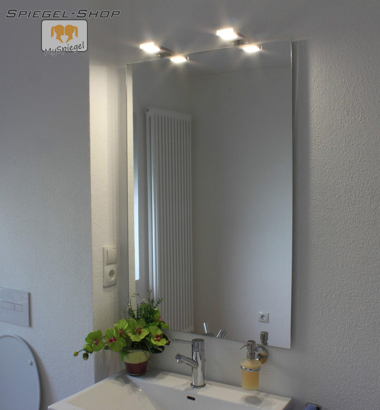 BRAN LED LEUCHT LAMPE BELEUCHTETER SPIEGEL MIT STEILFACETTE 130x70CM 2 LAMPEN