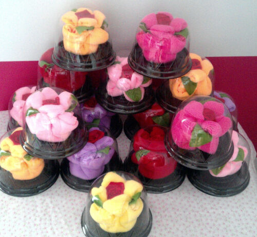 Box of 16 Assorted Colors Free UPS Ground Shipping Flower Towel Favors