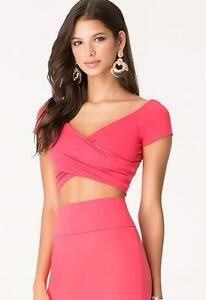 73e836404a7776 BEBE PINK TEABERRY OFF SHOULDER WRAP CROPPED CROP SEXY TOP NEW NWT ...