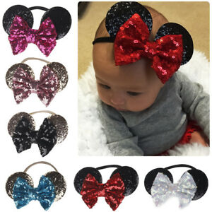 Minnie Mouse Ears Bow Sequin Headband Hair Band Girl Mickey Party ... b0964dddf79