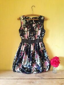 Size-12-black-pink-cherry-blossom-floral-vintage-pin-up-50-039-s-look-short-dress