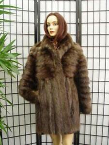 Haired S Long Women 8 Brown Size Fur Woman Coat m 6 Jacket Brand Beaver New 1xOnUOft