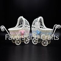 Baby Shower Carriage Wicker Table Centerpiece Favors Boy Girl Gifts Decorations