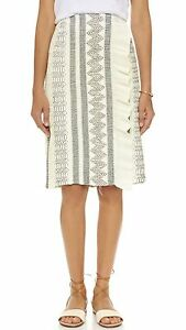 Tory Burch New Ivory Yellow Multi Stripe Fringed Knit Pencil Skirt Size S