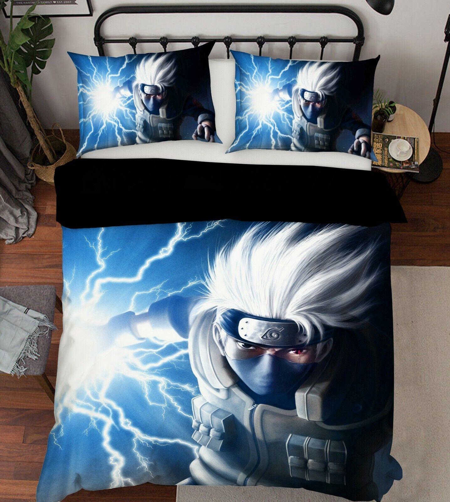 3D Naruto Lightning 7 Japan Anime Bed Pillowcases Quilt Duvet Cover Set Single