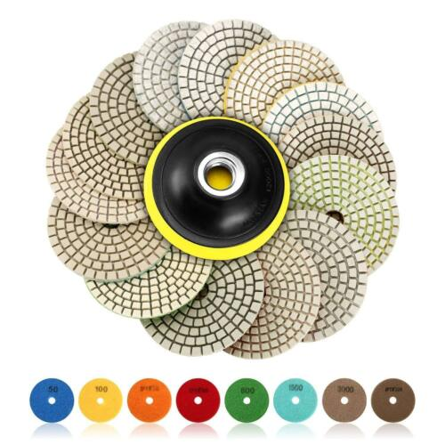 6Pcs 4inch Diamond Wet Dry Polishing Pads Grinding Set F Granite Marble 30-8000#