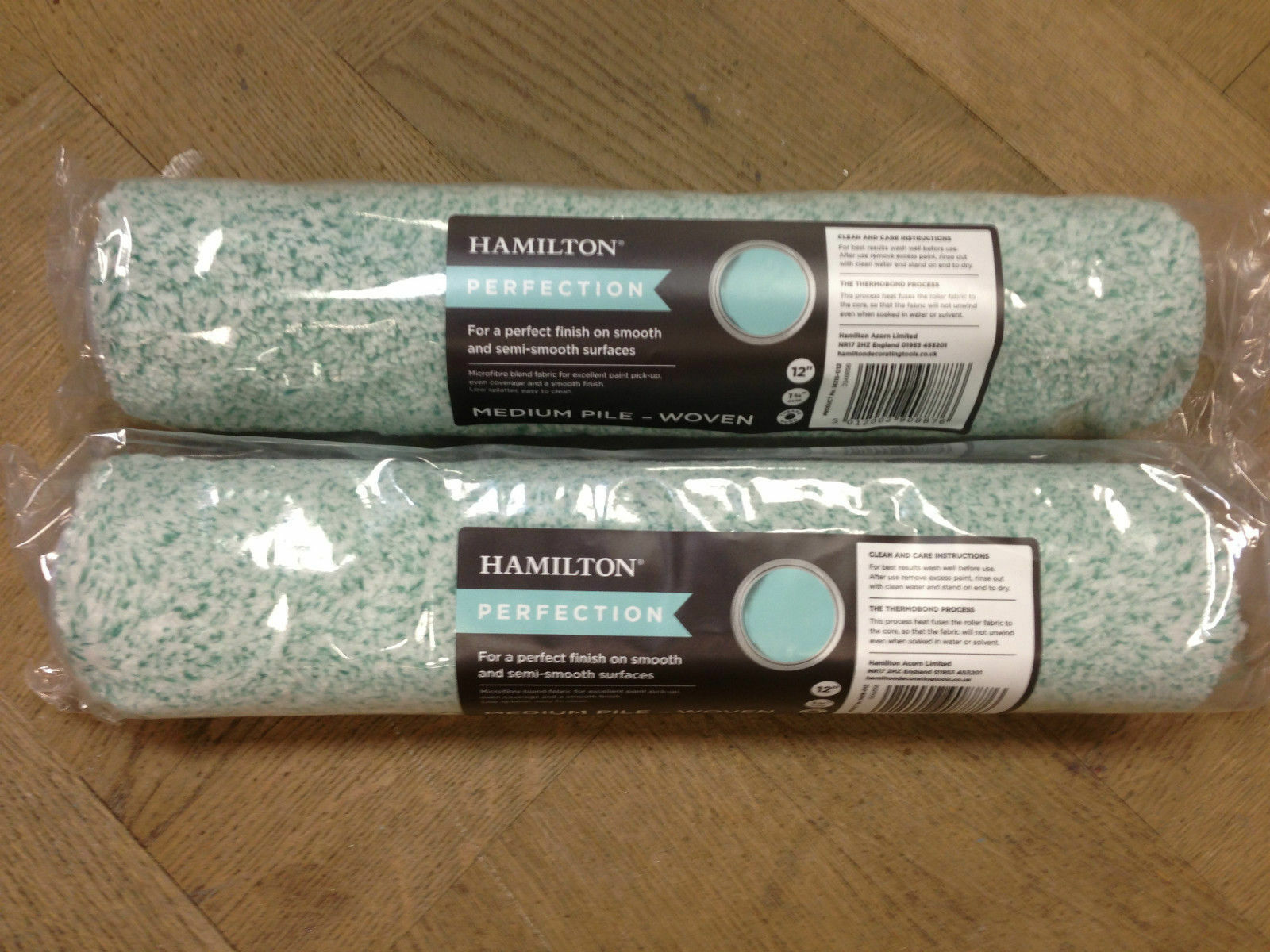 2 x Hamilton Perfection Woven Paint Rollers - Various Piles And Sizes (12 ,15 )