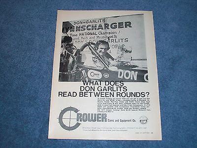 """1971 Vintage Crower Cams Ad Con Big Daddy """" Don Garlits Disponibile In Vari Disegni E Specifiche Per La Vostra Selezione"""