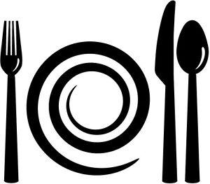 Sticker déco autocollants vinyle adhésifs muraux cuisine assiette couverts