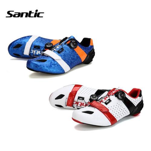 Santic Men Road Cycling Shoes Ultralight Carbon Fiber Sole Auto-Lock Bike Shoes