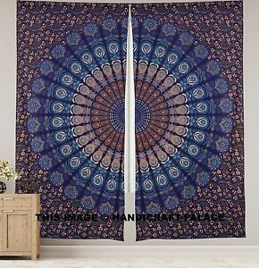 Peacock Mandala Window Curtains Drape Balcony Room Decor Curtain Indian Tapestry Ebay