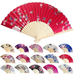 Vintage-Bamboo-Folding-Hand-Held-Flower-Fan-Chinese-Dance-Party-Pocket-Gifts-WOW