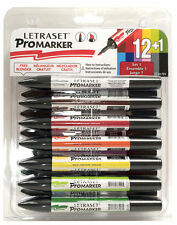 LETRASET ProMARKER Permanent Twin tip 12 PACK Set 1 with free colour