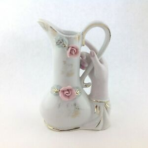 Vintage-Art-Pottery-Ceramic-Hand-Holding-a-White-Pitcher-with-Roses-5-034-tall
