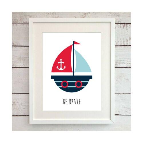 Nursery Pictures Nautical Theme 3 Prints Set Baby Wall Art Pirate Ship Marine
