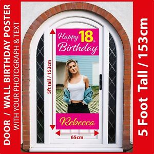 5FT-Tall-Door-Personalised-ANY-AGE-Birthday-Poster-Banner-Your-Photo-amp-Text