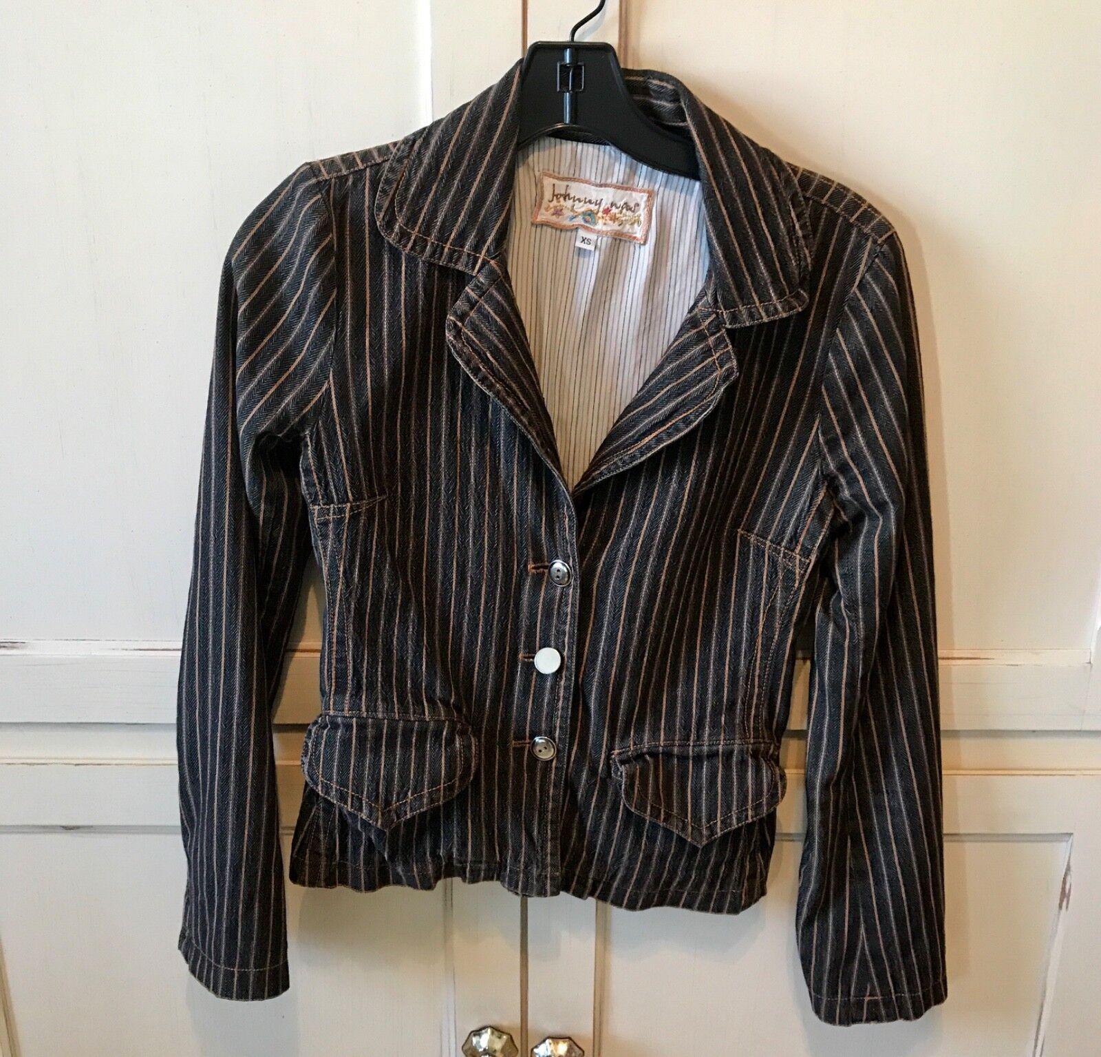 Johnny Was Denim Jacket/Blazer black with pinstripes XS