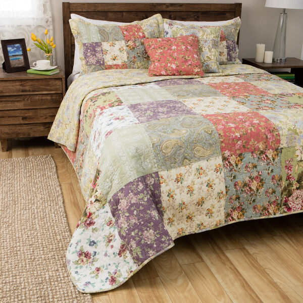 BEAUTIFUL XL REVERSIBLE ANTIQUE COUNTRY GREEN blueE PATCHWORK BEDSPREAD QUILT SET