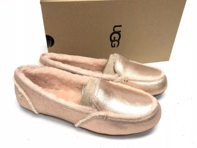 fad66f5396a UGG Australia Hailey Metallic Rose Gold Sheepskin Suede Loafers 1020029  Shoes