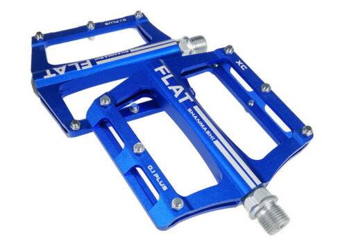 Aluminum Bike Pedal MTB Mountain Road Bicycle Bearings flat Platform Pedals blue