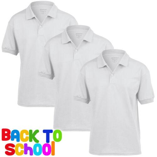 3 Pack Childrens Gil Dryblend POLO Shirt Boys Girls School Uniform Tops Shirt PE