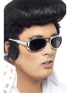 Elvis Presley Silber Dunkel Brille Kostüm Party Spaß