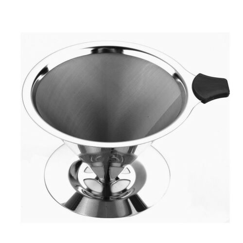 304 Stainless Steel Pour Over Cone Dripper Reusable Coffee Filter Coffee Maker